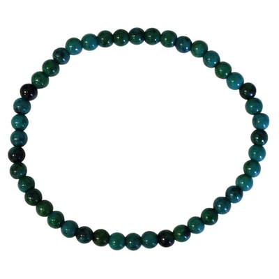 Bracelet Perles Rondes Chrysocolle Chauffée - 4 mm