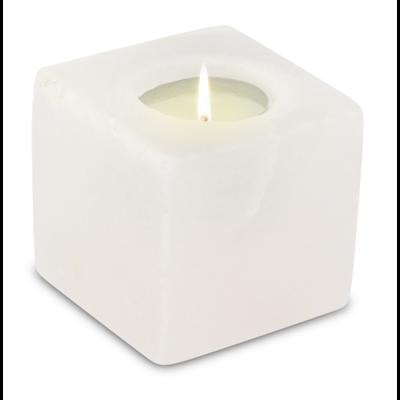 Photophore en Cristal de Sel Blanc Cube