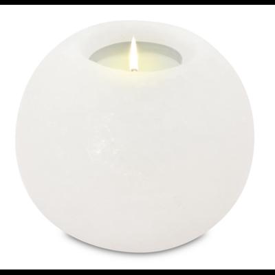 Photophore en Cristal de Sel Blanc Rond
