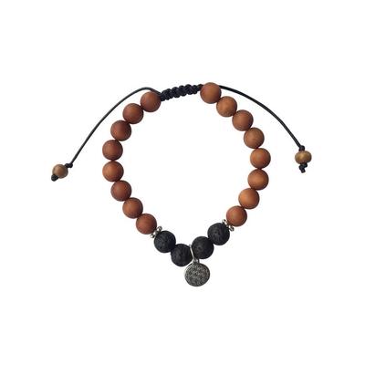 69921.2-Bracelet Pierre de Lave Bois de Santal Perles rondes