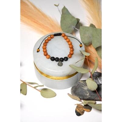Bracelet Pierre de Lave Bois de Santal Perles rondes 8 mm Fleur de Vie