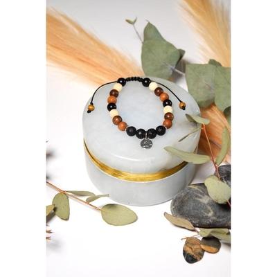 Bracelet Pierre de Lave Mix Bois Perles rondes 8 mm Lotus