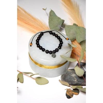 Bracelet Pierre de Lave Bois d'Ebène Perles rondes 8 mm Lune et étoile