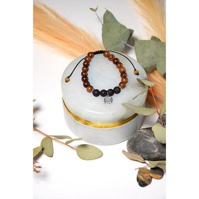 Bracelet Pierre de Lave Bois de Rose Perles rondes 8 mm Mandala