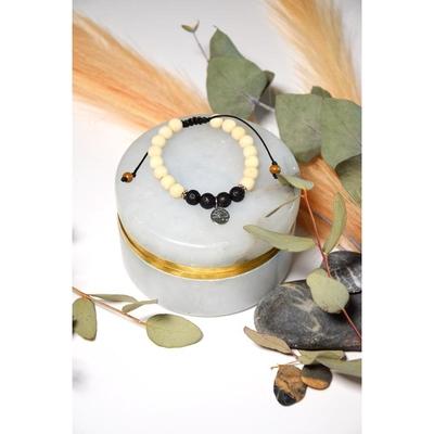 Bracelet Pierre de Lave Bois de Tulsi Perles rondes 8 mm Arbre de vie