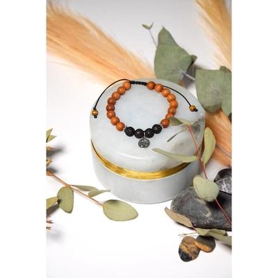 Bracelet Pierre de Lave Bois de Santal Perles rondes 8 mm OM