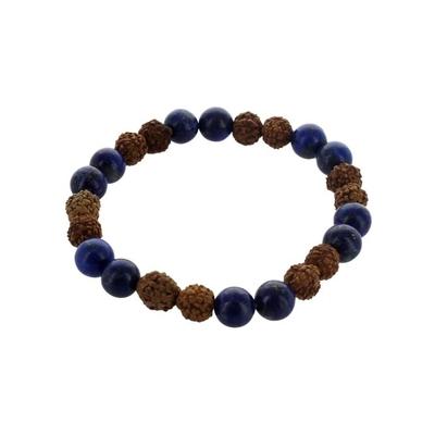 Bracelet Lapis Lazuli et Rudraksha Perles Rondes 8 mm