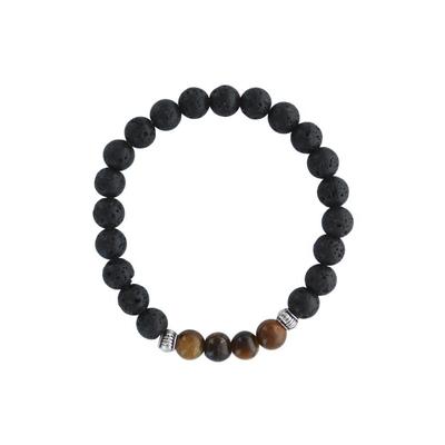 Bracelet Pierre de lave et Oeil de Tigre Perles Rondes 8 mm