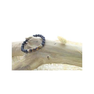 70031-Bracelet Pierre de lave et Oeil de Tigre