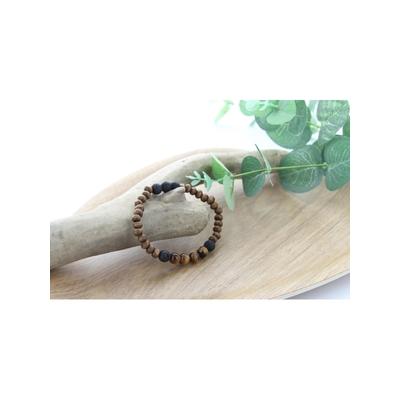 Bracelet Bois Oeil de Tigre et Pierre de Lave Perles Rondes 8 mm