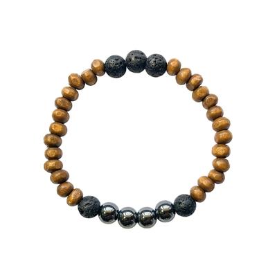 Bracelet Bois Hématite et Pierre de Lave Perles Rondes 8 mm
