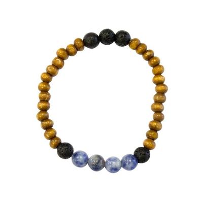 Bracelet Bois Sodalite et Pierre de Lave Perles Rondes 8 mm