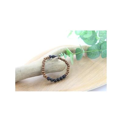 Bracelet Bois Tourmaline et Pierre de Lave Perles Rondes 8 mm