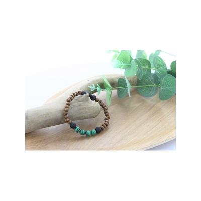 Bracelet Bois Malachite et Pierre de Lave Perles Rondes 8 mm