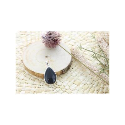 Pendentif Obsidienne Noire Argent 925 Forme Goutte Grand Modèle