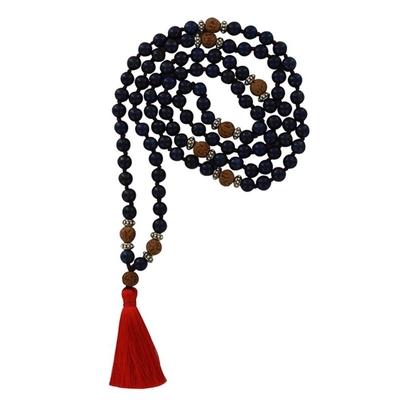 Mala en Lapis Lazuli et Rudraksha 108 perles
