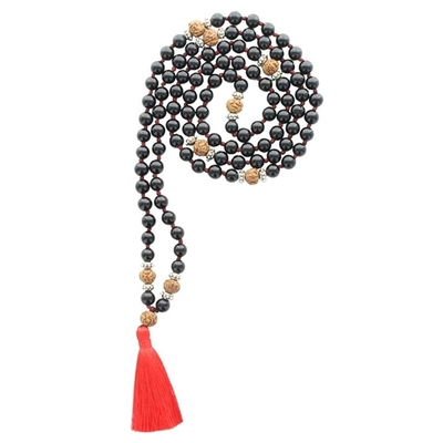 Mala en Obsidienne Noire et Rudraksha 108 perles