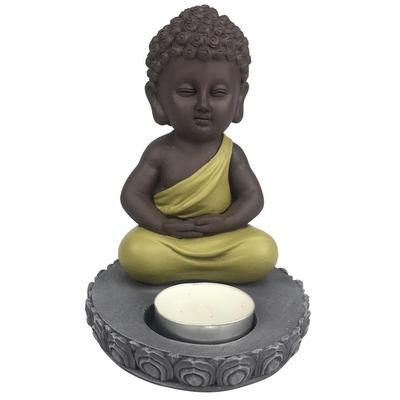 Porte-Bougie Mini Bouddha en Résine Vert 14 cm