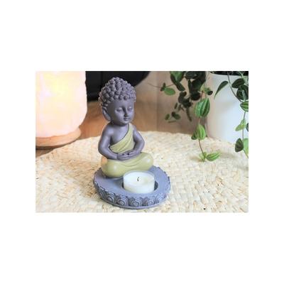 70440.Porte-Bougie Mini Bouddha en Résine Vert 14 cm