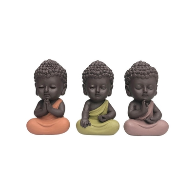 Trio de Minis Bouddhas en Résine 8.5 cm