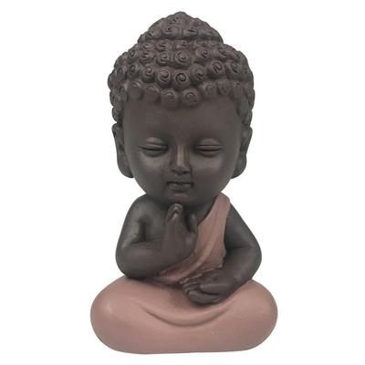 Statuette Mini Bouddha en Résine Rose 8.5 cm