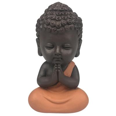 Statuette Mini Bouddha en Résine Orange 8.5 cm