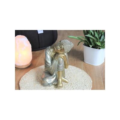 70433.2.Statuette Bouddha penseur en Résine Dorée 23.5 cm
