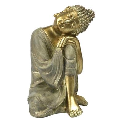 Statuette Bouddha penseur en Résine Dorée 23.5 cm