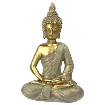 Statuette Bouddha Dhyana Mudra en Résine Dorée 27 cm