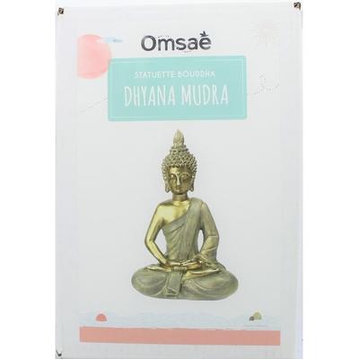 70429.2.Statuette Bouddha Dhyana Mudra en Résine Dorée