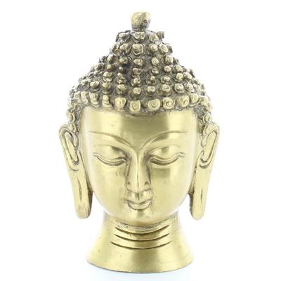 Statuette Tête de Bouddha en Laiton doré mat 11.5 cm