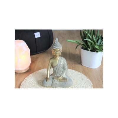 70453.2.Statuette Bouddha Bhumisparsha Mudra en Résine Dorée 26 cm