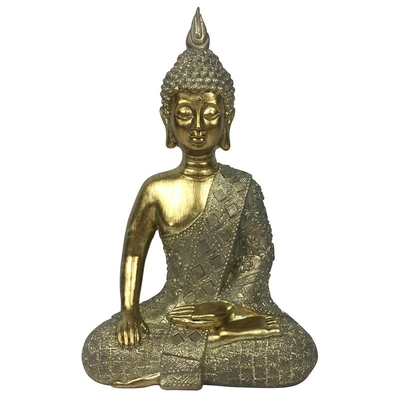 Statuette Bouddha Bhumisparsha Mudra en Résine Dorée 26 cm