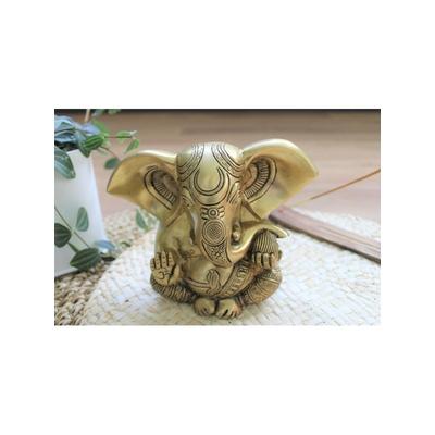 70449.2.Statuette Ganesh assis en Laiton doré mat 14 cm
