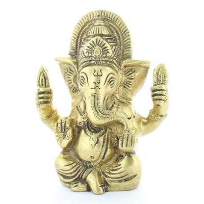 Statuette Ganesh assis en Laiton doré mat 9.2 cm
