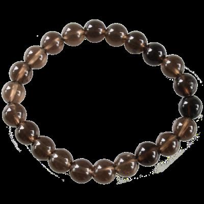 Bracelet Perles Rondes Quartz Fumé 8 mm