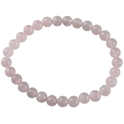 Bracelet Perles Rondes Quartz Rose 6 mm