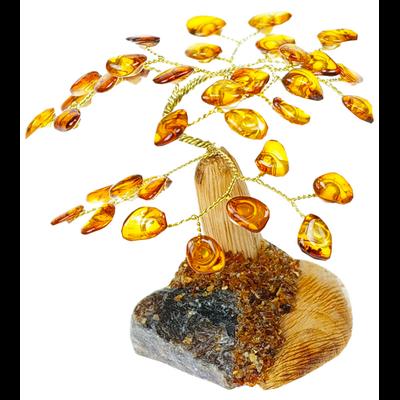 Arbre du Bonheur Ambre Cognac Mixé - 7 cm