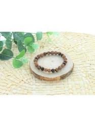 70032-Bracelet Oeil de Tigre et Rudraksha