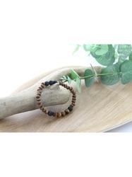 70030.2-Bracelet Bois, Oeil de Tigre et Pierre de lave
