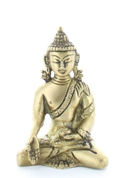 70422.1.Statuette Bouddha Bhumisparsha Mudra en Laiton doré mat 7,5 cm