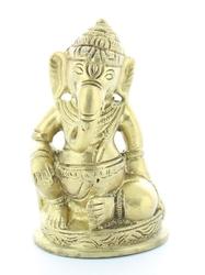 70443.1.Statuette Ganesh assis en Laiton doré mat 8.2 cm