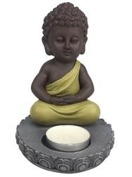 70440.1.Porte-Bougie Mini Bouddha en Résine Vert 14 cm