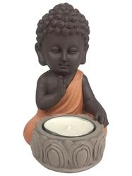 70439.1.Porte-Bougie Mini Bouddha en Résine Orange 12.5 cm