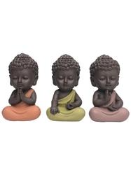70438.Trio de Minis Bouddhas en Résine 8.5 cm