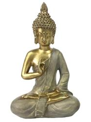 70431.Statuette Bouddha Shunya Mudra en Résine Dorée