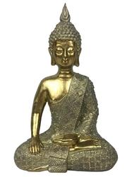 70453.Statuette Bouddha Bhumisparsha Mudra en Résine Dorée 26 cm