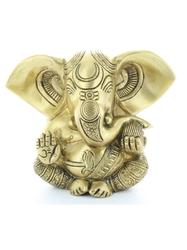 70449.Statuette Ganesh assis en Laiton doré mat 14 cm