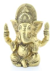 70447.Statuette Ganesh assis en Laiton doré mat 9.2 cm