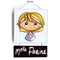 Plaque de porte de classe FLORINE - cadeau maitresse